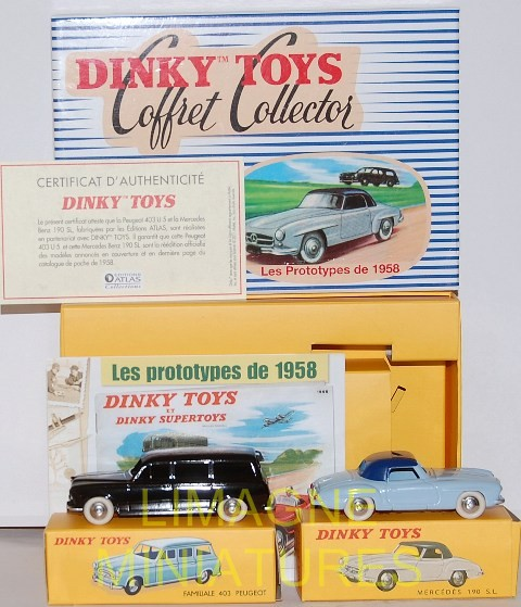 DINKY TOYS ATLAS coffret collector les prototypes de 1958 24 FH peugeot 403